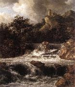 RUISDAEL, Jacob Isaackszon van Waterfall with Castle Built on the Rock af oil painting picture wholesale