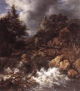 RUISDAEL, Jacob Isaackszon van Waterfall in a Mountainous Northern Landscape af oil painting picture wholesale
