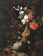 RUYSCH, Rachel Flowers on a Tree Trunk af oil painting artist