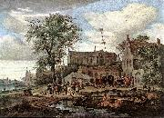 RUYSDAEL, Salomon van Tavern with May Tree af oil painting picture wholesale