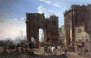 SALUCCI, Alessandro Harbour View with Triumphal Arch g oil painting artist