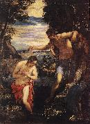 TINTORETTO, Jacopo Baptism of Christ  sd oil painting artist