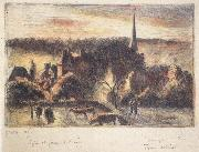 Camille Pissarro Church and farm at Eragny-sur-Epte oil painting picture wholesale