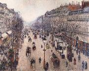 Camille Pissarro Boulevard Montmartre,morning cloudy weather oil painting picture wholesale