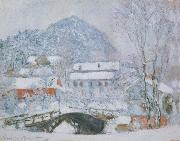 Claude Monet Sandviken Village in the Snow oil painting picture wholesale