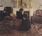 Fernand Khnopff Listingto Music by Schumann oil painting picture wholesale