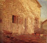 Grant Wood Old Stone and barn oil painting picture wholesale