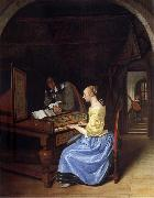 Jan Steen A young woman playing a harpsichord to a young man oil painting picture wholesale