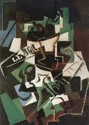 Juan Gris Fruit dish pipo and newspaper oil painting picture wholesale
