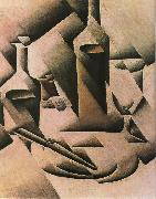 Juan Gris Still life botrtle and knife oil painting picture wholesale