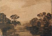 REMBRANDT Harmenszoon van Rijn River with Trees on its Embankment at Dusk oil painting picture wholesale