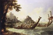 unknow artist The War-Boats of the island of Otaheite Tahiti,and the Society Islands,with a View of part of the Harbour of Ohameneo Haamanino,in the island of Uliet oil painting picture wholesale