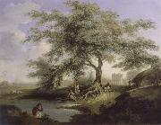 unknow artist Natives Drawing Water form a pond with Warren Hastings-House at Alipur in the Distance oil painting picture wholesale