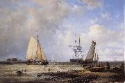 Abraham Hulk Fisherfolk and Ships by the Coast oil painting picture wholesale
