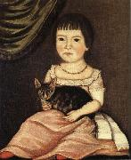 Beardsley Limner Child Posing with Cat oil
