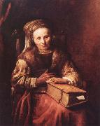 Carel Van der Pluym Old woman with a book oil painting