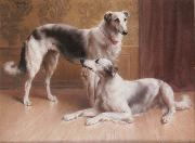 Carl Reichert Hounds in an Interior oil painting