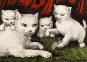 Currier and Ives Three little white kitties oil