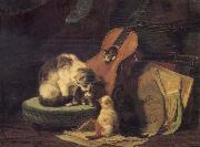 Henriette Ronner Cat,book and fiddle oil painting picture wholesale
