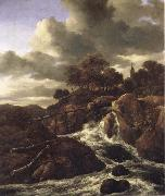 Jacob van Ruisdael A Waterfall with Rocky Hilla and Trees oil painting picture wholesale