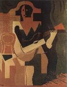 Juan Gris The clown playing Guitar oil painting picture wholesale