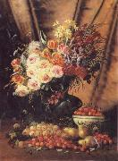 Modeste Carlier A Still life with Assorted Flowers,Cherries Pears and Quince oil painting picture wholesale