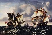 Thomas Chambers Capture of H.B.M.Frigate Macedonian by U.S.Frigate United States oil painting artist