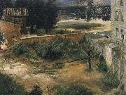 Adolph von Menzel Rear Counryard and House oil