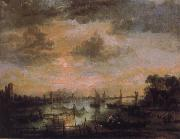 Aert van der Neer Fishing by moonlight oil painting picture wholesale