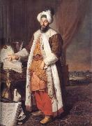 Aved, Jacques-Andre-Joseph Portrait of the Pasha Mehmed Said,Bey of Rovurelia,Ambassador of Sultan Mahmud i at Versailles oil painting