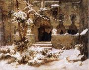 Carl Friedrich Lessing Monastery Courtyard in the Snow oil painting