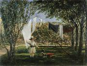 Charles Robert Leslie Child in a Garden with His Little Horse and Cart oil painting artist