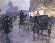 Childe Hassam Horse Drawn Coach at Evening oil painting picture wholesale