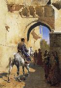 Edwin Lord Weeks A Street SDcene in North West India,Probably Udaipur oil