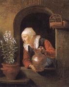 Gerard Dou Old woman at her window,Watering flower oil painting artist