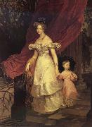 Karl Briullov Portrait of Gaand Duchess Yelena Pavlovna with her daughter oil painting picture wholesale