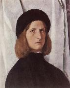 Lorenzo Lotto Portrat of a young man before a woman curtain oil painting artist