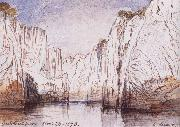 Lear, Edward The Rocks of the Narbada River at Bheraghat Jubbulpore oil painting artist