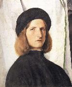 Lorenzo Lotto Portrait of a young man against a white curtain oil painting artist