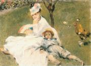 Pierre-Auguste Renoir Camille Monet and Her son Jean in the Garden at Arenteuil oil painting
