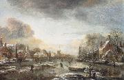 Aert van der Neer A Frozen River by a Town at Evening oil