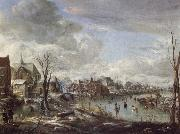 Aert van der Neer A Frozen River Near a Village,with Golfers and Skaters oil