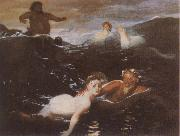 Arnold Bocklin Playing in the Waves oil