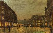 Atkinson Grimshaw Boar Lane,Leeds by Lamplight oil painting picture wholesale