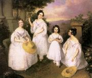 Brocky, Karoly The Daughters of Medgyasszay oil painting