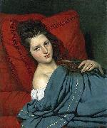 COURTOIS, Jacques Half-length Woman Lying on a Couch oil
