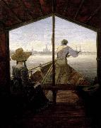 Carl Gustav Carus A Gondola on the Elbe near Dresden oil painting picture wholesale