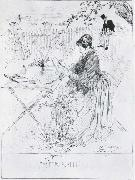 Carl Larsson Ceramics Pen and ink drawing oil painting artist