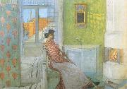 Carl Larsson Reading on the Veranda oil painting picture wholesale