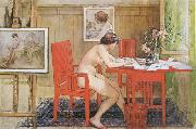 Carl Larsson Model,Writing picture-Postals oil painting artist